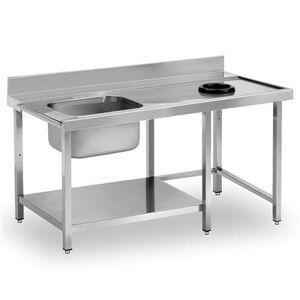 QDM Table de prélavage avec plonge, étagère et orifice vide-déchets P 750