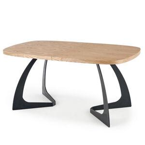 SO INSIDE Table de salle à manger extensible aspect chêne avec pieds design en métal noir CYBELE