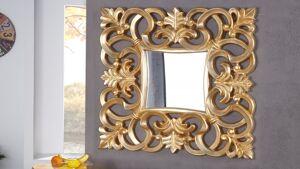 gdegdesign Miroir baroque avec ornement volute or doré carré - Chester