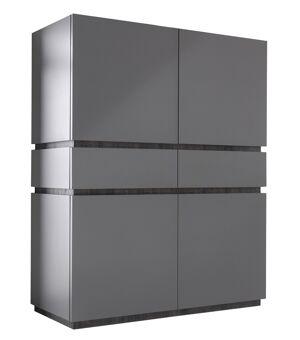 gdegdesign Buffet haut design gris mat 4 portes + 2 tiroirs - Ivo