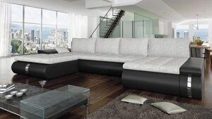 gdegdesign Canapé d'angle panoramique convertible en simili cuir et tissu - Klaus