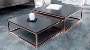 gdegdesign Table basse gigogne carrée laquée gris anthracite et métal cuivré - Wim