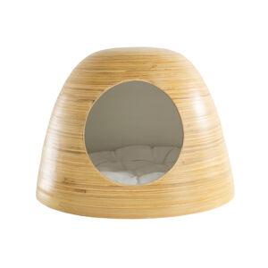 Miliboo Niche pour chat et chien design en bambou laquée blanche YODO