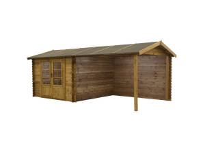 Vente-unique Abri de jardin ROCHESTER en bois autoclavé traité classe III - 17,5m² - toit en feutre bitumé