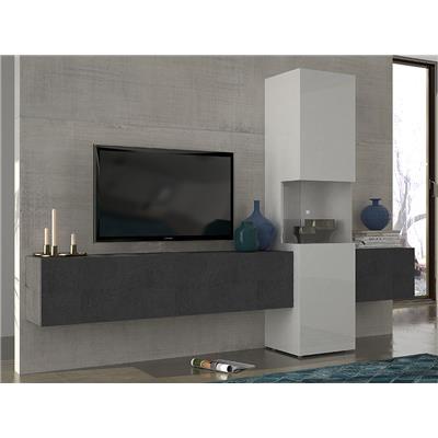 M-063 Ensemble meuble TV effet marbré et blanc laqué design ZACH-L 265 x P 40 x H 181,2 cm- Gris