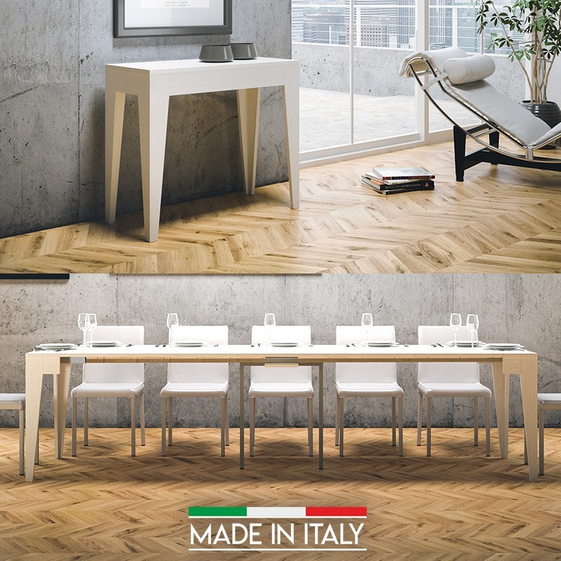 Table Console extensible Isotta - Couleurs - Frêne blanc, Nombre d'extensions - 5 Rallonges