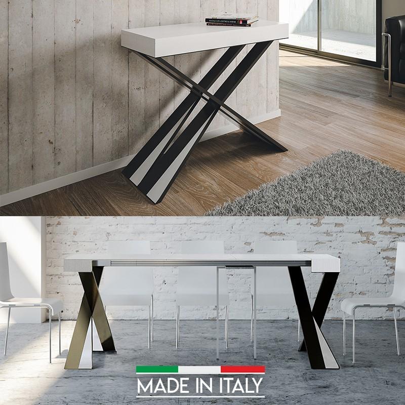 Table Console extensible Diago - Couleurs - Frêne blanc, Nombre d'extensions - 3 Rallonges