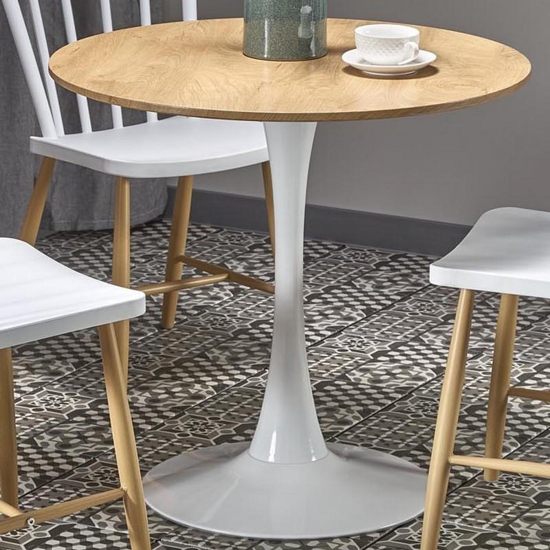 SO INSIDE Table ronde 80cm scandinave avec pied central en métal blanc Elyon